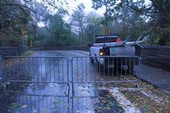 Central Park dat tijdens Zandige Orkaan wordt gesloten Stock Foto