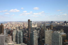 Central Park de los rascacielos de Nueva York y Hudson River Imagenes de archivo
