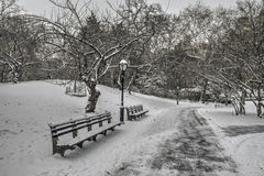 Central Park, de Stad van New York na sneeuwonweer Royalty-vrije Stock Fotografie