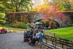 Central Park del banco di parco Fotografie Stock Libere da Diritti