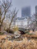 Central Park del puente de Gapstow, New York City en día de niebla fotos de archivo