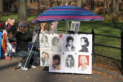 Central Park drawing stand Royalty Free Stock Image