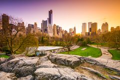 Central Park at Dusk Royalty Free Stock Photos