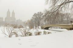 Central Park e ponte nella neve, New York dell'arco Immagini Stock Libere da Diritti
