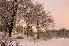 Central Park efter snön Strom Linus Arkivfoto
