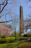 Central Park Egyptian Obelisk in springtime. Obelisk also known as Cleopatras Needle: Egyptian monolith standing in Central Park, New York City Stock Image