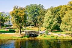 Central Park em Riga Letónia fotografia de stock