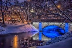 Central Park en Riga adornó para la celebración de la Navidad y del Año Nuevo Fotos de archivo