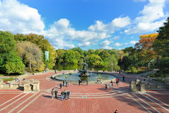 Central Park Fountain. Bethesda Fountain and Terrace in Central Park New York City with tourists and visitors. October 22, 2010 Royalty Free Stock Images