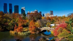 Central Park and Gapstow bridge Royalty Free Stock Photo