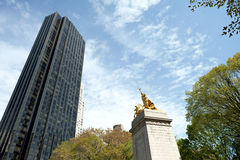 Central Park Gold Statue Stock Photography