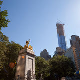 Central Park Golden Statue Stock Photography