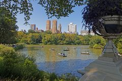 Central Park through a green frame. NEW YORK CITY, USA, September 10, 2017 : Central Park is the most visited urban park in the US, with 40 million visitors and Stock Photo