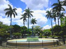 Central park. Heredia , costa Rica. Landscape in the park in from of the church of la immaculate conception in Heredia royalty free stock photo