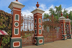 Central Park, home of the Stawell Gift, is accessed through large elaborate cast iron gates (1903). STAWELL, VICTORIA, AUSTRALIA - April 10, 2016: Central Park Royalty Free Stock Images