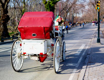 Central Park Horse Carriage. With red cover and white  trunk that can be used for a message or advertisement placement Royalty Free Stock Photo