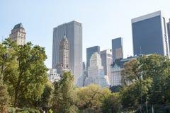 Central Park i Manhattan linia horyzontu Fotografia Stock