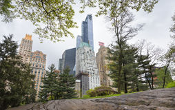 Central Park i Manhattan linia horyzontu w NYC Obrazy Stock