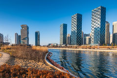 Central Park i Songdo det internationella affärsområdet, Incheon fotografering för bildbyråer