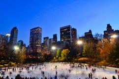 Central Park Jeździć na łyżwach Wollman lodowisko zdjęcia royalty free