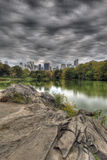 Central Park by the lake Stock Image