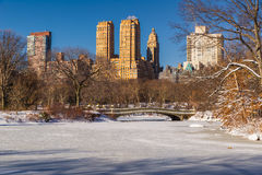 Central Park Lake and Bow Bridge in Winter, New York Royalty Free Stock Photos