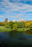 Central Park Lake, New York City, United States of America. View of Manhattan from Central Park Lake, New York City, United States of America royalty free stock photography