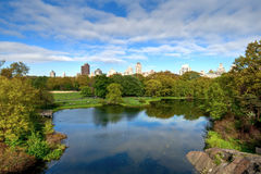 Central Park Lake, New York City, United States of America. View of Manhattan from Central Park Lake, New York City, United States of America Royalty Free Stock Photo