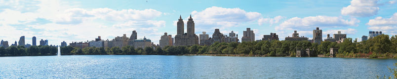 Central Park Lake New York Panorama Stock Photo