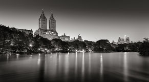 Central Park Lake at Twilight. Black & White, New York Stock Photos