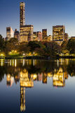 Central Park Lake at twilight with Midtown skyscrapers. New York Stock Images