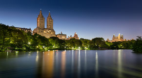 Central Park Lake at Twilight. Upper West Side, New York Stock Images