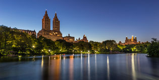 Central Park Lake at Twilight. Upper West Side, New York Royalty Free Stock Images