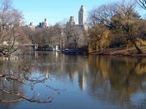 Central Park Lake in Winter Stock Photo