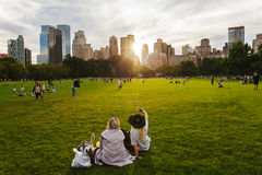 Central Park life in New York at sunset. Life of the Centra Park in New York at sunset Royalty Free Stock Photo