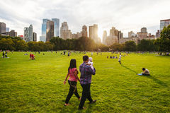 Central Park life in New York at sunset. Life of the Centra Park in New York at sunset Royalty Free Stock Photos