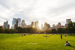 Central Park life in New York at sunset. Life of the Centra Park in New York at sunset Stock Photos