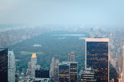 Central Park looking north from Midtown, New York. Hazy Central Park view from Midtown, Manhattan, New York City Royalty Free Stock Images