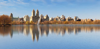Central Park and Manhattan- Jacqueline Kennedy Onassis Reservoir Stock Photos