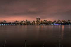 Central Park - Manhattan New York. Long exposure on the central park`s lake Stock Photo