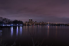 Central Park - Manhattan New York. Long exposure on the central park`s lake Stock Photography