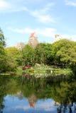 Central Park and Manhattan Skyline Stock Photography