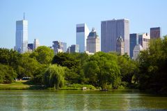 Central Park with Manhattan skyline Stock Image
