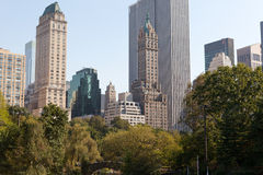 Central Park and Manhattan Skyline Royalty Free Stock Image