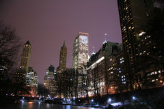 Central Park and manhattan skyline at night Royalty Free Stock Images