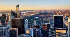 Central Park a New York al tramonto Immagini Stock