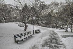 Central Park, New York City après tempête de neige Photographie stock libre de droits