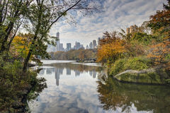 Central Park, New York City autumn at lake Stock Photos