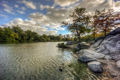 Central Park, New York City autumn at lake Stock Images