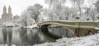 Central Park, New York City. The Bow Bridge  is a cast iron bridge located in Central Park, New York City, crossing over The Lake Stock Photography